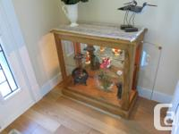 SOLID OAK CURIO CABINET with glass shelf and built in