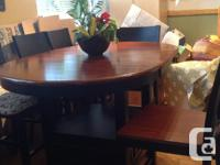 ABSOLUTELY BEAUTIFUL COUNTER HEIGHT DINING TABLE W/ 6