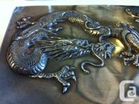 Rare antique Chinese sterling silver Dragon Box. This
