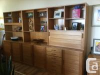 """Beautiful Sectional Teak Wall Unit 3 Sections 120"""" Wide"""