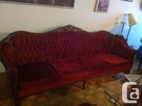 Beautiful Dark Wine red and Dark Brown timber Sofa as