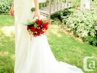 One Shoulder Chiffon Soft-White Wedding Gown (once-wed,