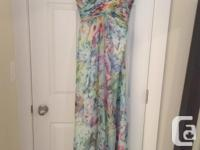 Beautiful prom gown, for sale. Multi colored gown, with