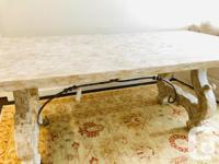 Beautiful white distressed dining room table. Statement