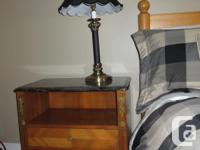 Antique bed side tables. Light mahogany, marble
