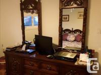 Massive oak bedroom set, massive oak coffee and end