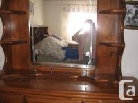 Five piece Queen wood bedroom set with bookcase