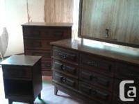 Dresser with mirror, chest of drawers, night table and