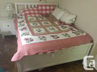 Queen sized bed with box and cushion, one bedside