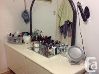 Headboard footboard, dresser with mirror, 2 night