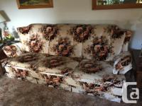 Beige floral chesterfield and matching chair, for sale