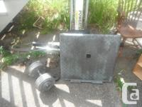 Exerciser bench and some weights. Have a look at the