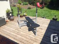 It is a Body Solid brand bench press that comes with an
