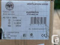Never used F. Bertazzoni 600 CFM ventilation hood. H -