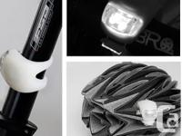 Bicycle Bike Safety LED Light - White - powered by 2 x