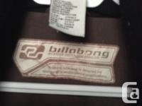 Nice, brown Billabong winter jacket with hood for sale.