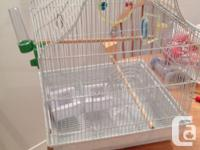 16 X 16 inch bird cage 2 perches, 2 food dishes, water