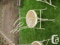 3 Antique wrought iron bistro chairs with spring action