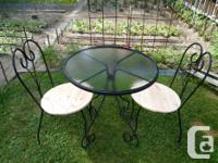"""All steel bistro set,top 28""""W,I have made two wooden"""