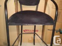 BLACK BAR STOOLS / POOL TABLE CHAIRS (2) WITH ARMS AND