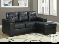 Black Bonded Leather / PU Sectional