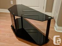 Black Glass TV Stand Clean, no scratches or gouges $40