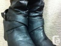 Gently used one pair of knee high classy black boots