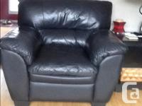 Black leather chesterfield and chair. In great