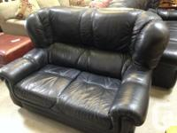 Utilized black natural leather highback seat for