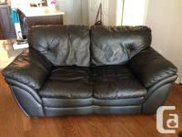 Black Leather Love-seat Couch Great Shape, may come