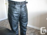 men's leather pants with laced waist adjustment to