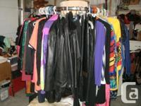 Designer black Leather Skirt, knee lenght, size 12 worn
