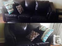 Selling 2 black leather sofas, 700$ for both, 350$ for