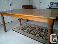 "Solid black walnut harvest table (76""x36"") can be"