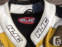 Size 44 HJC Male Motorcycle Leathers in Black, White