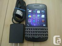 BLACKBERRY Q10, BLACK, FIDO, CHATR, ROGERS, 10/10 MINT