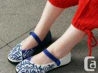 Blue-and-White Embroidery Cloth Shoes Size 6 Material: