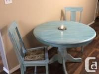 42� Blue washed kitchen table and chairs, $250 obo.