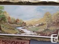 Lovely scenic oil painting art with Gold frame.
