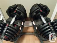 Dumbbells adjust from 10 to 90 lbs. (5 lb. increments.)