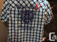Nevada Dress Shirt Bulldog on the back Blues and white