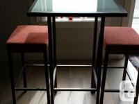 Amisco Bradley Pub Table with Frosted Glass Top and Two