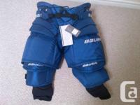 SELLING A BRAND NEW BAUER PRO GOALIE PANTS SIZE SMALL.