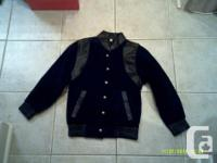 Brand New Boy's Black Leather & Suede Jacket Size M