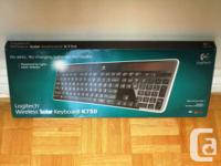 Brand New Logitech Wireless Solar Keyboard K750,