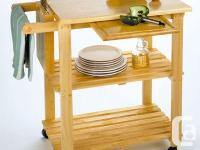 Brand New Natural Beechwood Mobile Kitchen Cart Table