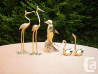Brass figurines - 2 swans, 2 cranes, 1 fish. $10 each