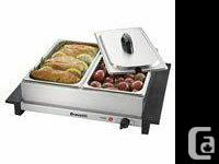 Bravetti 2 tray stainless steel buffet server and