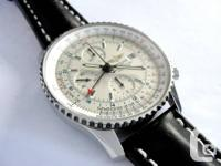 Breitling Navitimer World GMT on leather band in