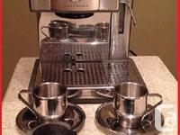 Stainless-steel espresso coffee machine with 15-bar